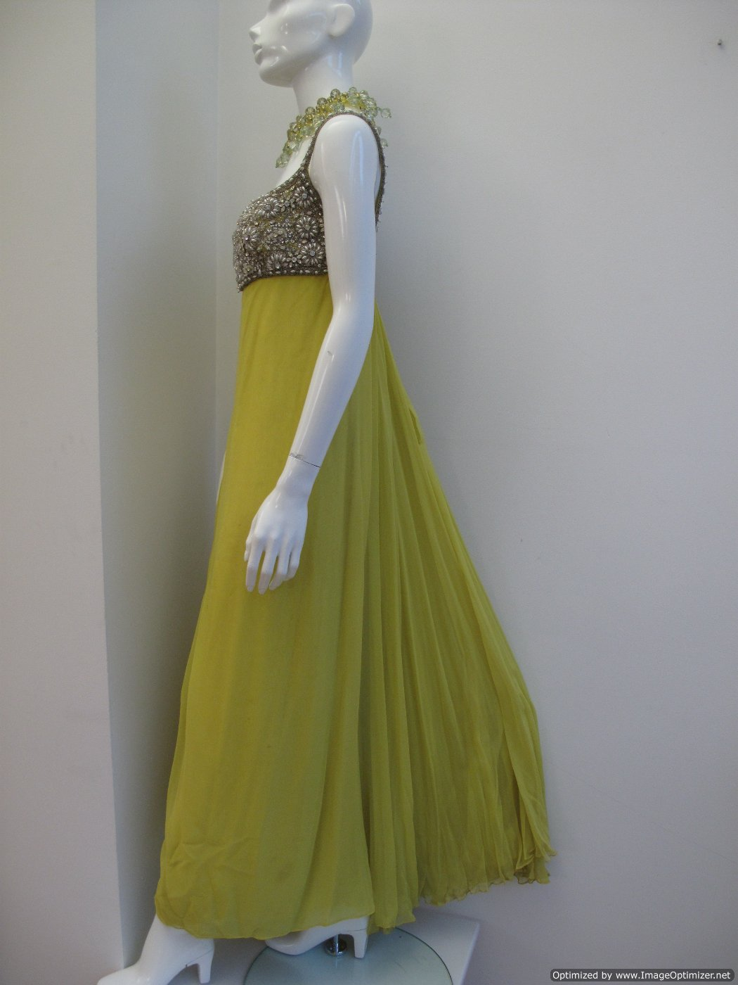 1960 s Acid yellow silk chiffon baby doll vintage evening gown SOLD